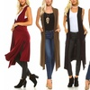 Isaac Liev Extra Long Cardigan Vest with Side Slits and Pockets