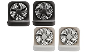 """O2Cool 5"""" Portable 2-Speed Battery Operated Fan (2-Pack)"""