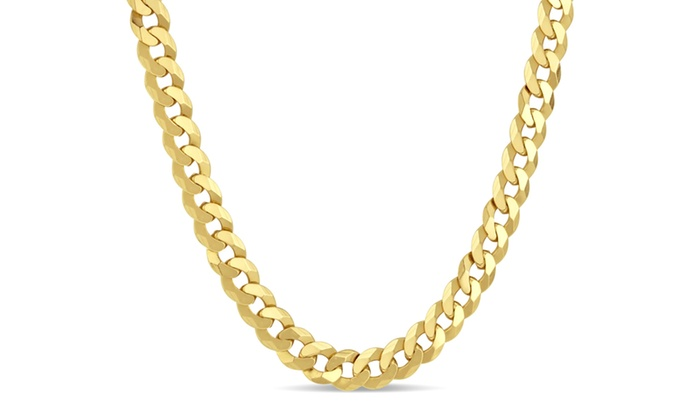 Men's 8.4mm Gold Plated Sterling Silver Curb Chain Necklace: Men's 8.4mm Gold  Plated ...