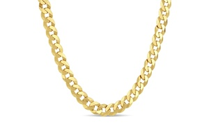 Men's 8.4mm Gold Plated Sterling Silver Curb Chain Necklace
