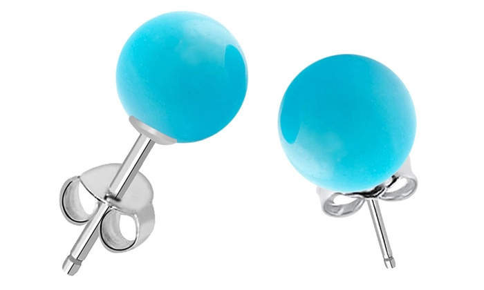 7 00 Cttw Turquoise Ball Stud Earrings In Sterling Silver