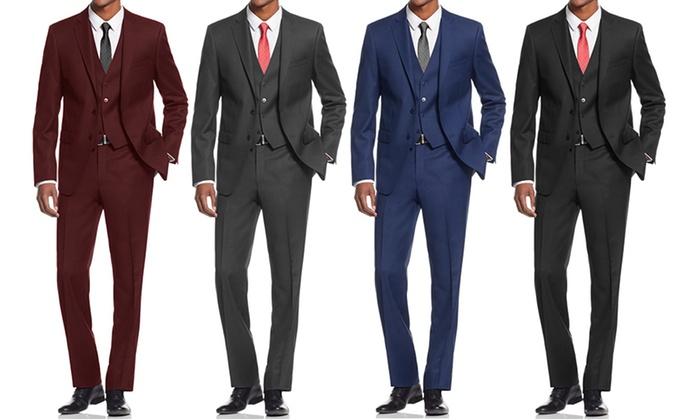 Braveman Platinum Men's Slim-Fit 3-Piece Suits