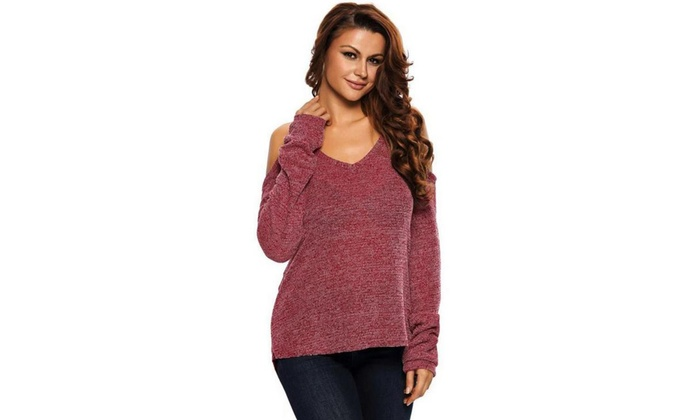 Up To 42 Off On Off The Shoulder V Neck Sweater Groupon Goods