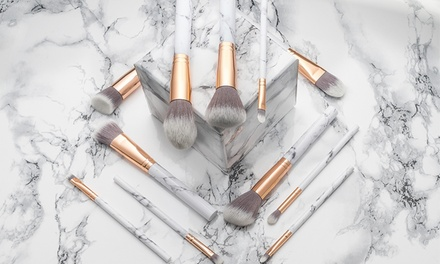 TenPiece MarbleEffect MakeUp Brush Set