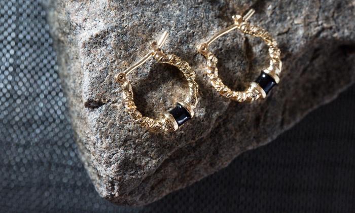 Women's 18K Gold Plated Swirl Hoop Earrings with Black Onyx by Sevil
