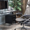 Genesis Glass Computer Desk with Cabinet Drawers