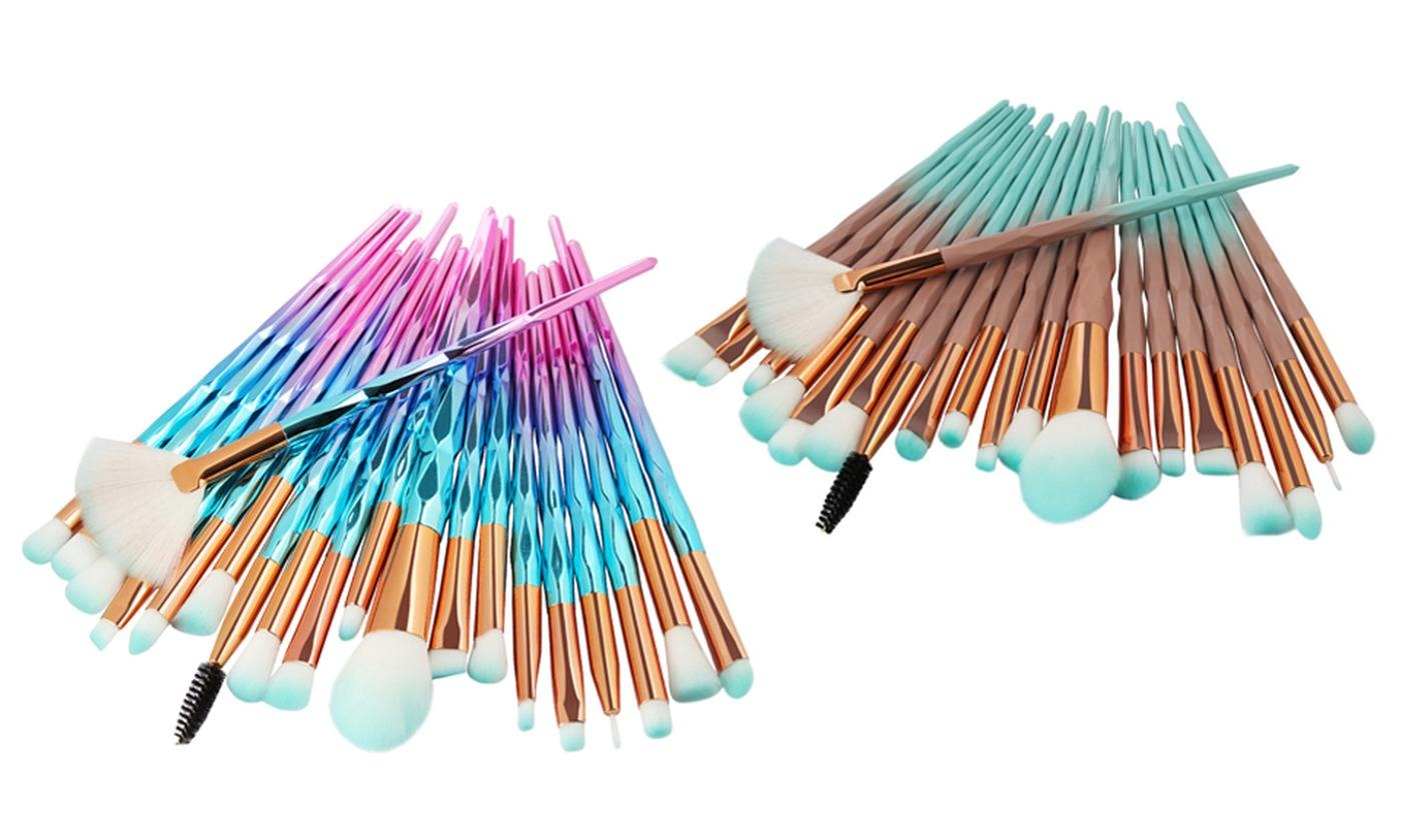 One, Two or Three 20-Piece Diamond Makeup Brush Sets