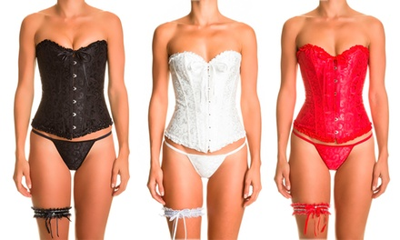 Secretplay Corset, Garter and Thong Set in a Choice of Colour With Free Delivery