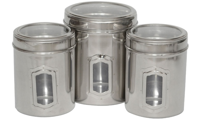 Delicieux Stainless Steel Pet Food Canister Set (3 Piece)