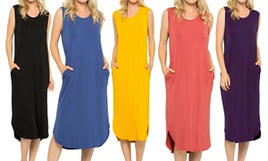 Acting Pro Solid Sleeveless Women's Midi Dress. Plus Sizes Available.