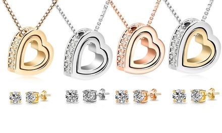 One (AED 89), Two (AED 149) or Four (AED 259) Double Heart Jewellery Sets With Free Delivery