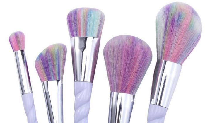 Unicorn Multi-Color Brisled Makeup Brush Set (10-Piece)
