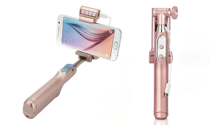 trend matters expandable bluetooth selfie stick with flashlight groupon. Black Bedroom Furniture Sets. Home Design Ideas