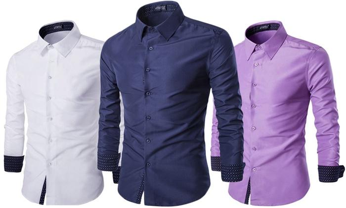 1 ou 2 chemises pour homme avec revers à motifs coloris au choix dès 1690€ (jusquà 75% de rduction)