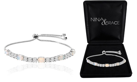 Fiery Opal Tennis Bracelet With Swarovski Crystals by Nina & Grace