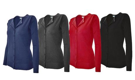 Women's Round-Neck Button-Front Cardigan 21c0a17a-22b8-4cee-9fec-d3042635f24e