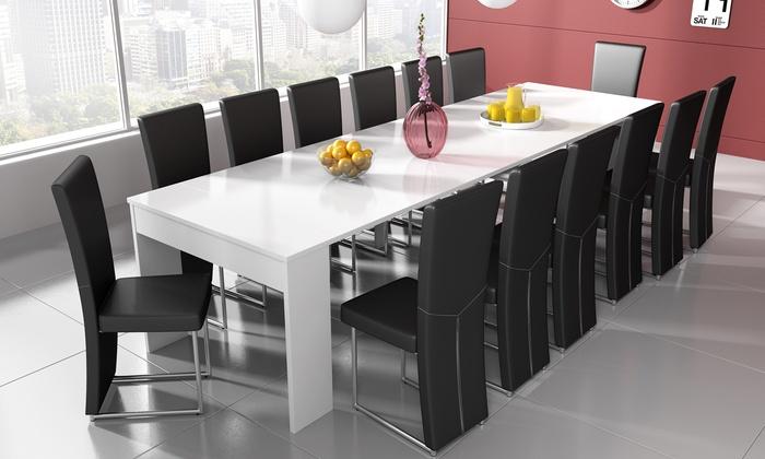jusqu 39 63 table console extensible groupon. Black Bedroom Furniture Sets. Home Design Ideas
