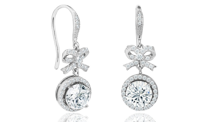 Elements Of Love Bow Halo Drop Earrings Made With Swarovski