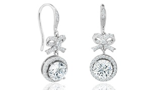 Elements of Love Bow & Halo Drop Earrings Made with Swarovski Elements