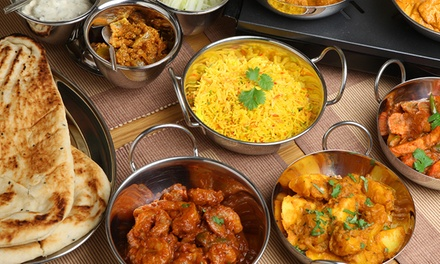 Two Course Indian Meal with Papadums and Pickles or Bottle of Wine for Two or Four at Miahs Kitchen (Up to 60% Off)