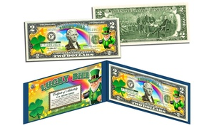Colorized Leprechaun and Four-Leaf Clover $2 Bill