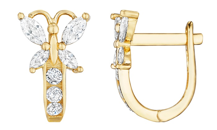 14k Yellow Gold Plated Kids Erfly Crystal Earrings