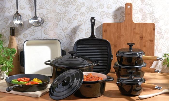 jusqu 39 65 batterie de cuisine en fonte groupon. Black Bedroom Furniture Sets. Home Design Ideas
