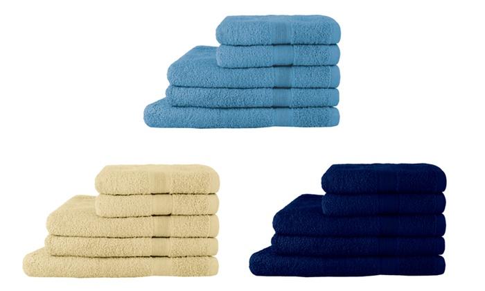 Set di 5 asciugamani in spugna groupon goods - Asciugamani set bagno ...