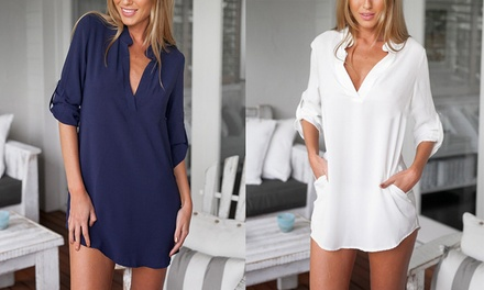 VNeck Long Casual Blouse with Pockets: One $16 or Two $29