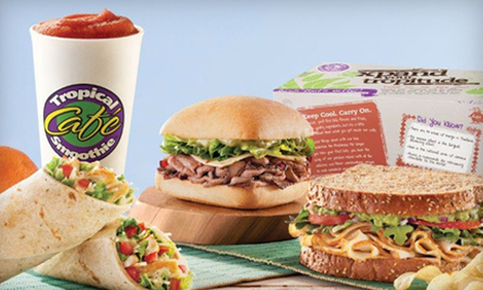 Tropical Smoothie Cafe - Tropical Smoothie: Five Regular-Size Smoothies or $6 for $12 Worth of American Food at Tropical Smoothie Cafe