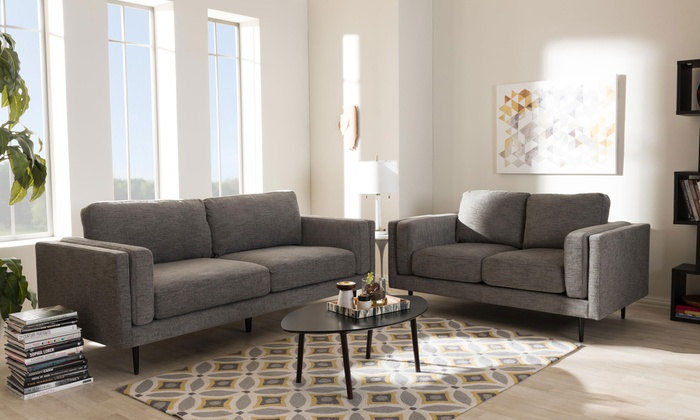 Modern living room set 2 piece groupon goods for Living room set deals