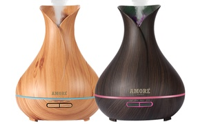 Amore Ultrasonic Aroma Diffuser with Essential Oil Gift Set (7-Piece)
