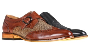 Gino Vitale Men's Monk Strap Herringbone Dress Shoes