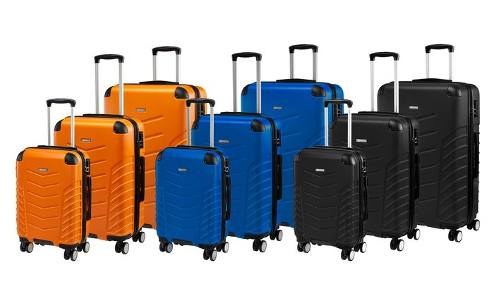 Globalite Set of Three ABS Reinforced Hard Shell Luggage Suitcases