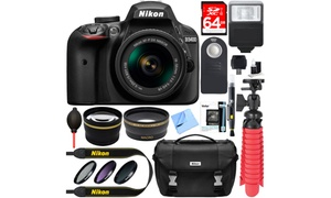 Nikon D3400 24.2MP DSLR Camera and Lens Bundle (15-Piece)