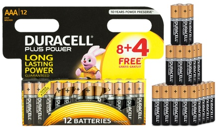 Jusquà 40 Piles Duracell Plus Power AAA, 1.5V