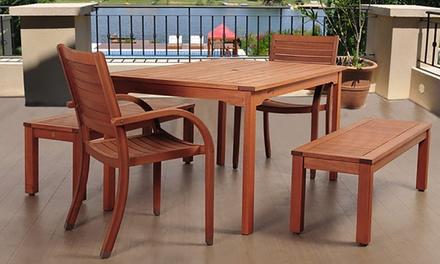 Amazonia Richfield Eucalyptus Rectangular Dining Set (5-Piece)