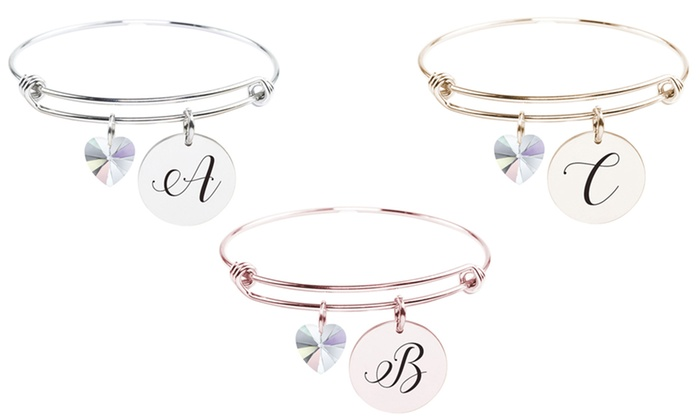 d4fa1e405 Pink Box Stainless Steel Initial Bangle with Crystals from Swarovski