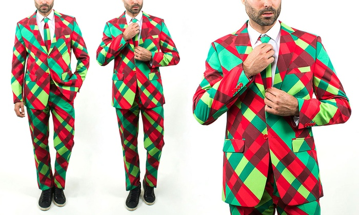 Braveman Men's Ugly Christmas Suits with Matching Tie (Size 34Sx28W)