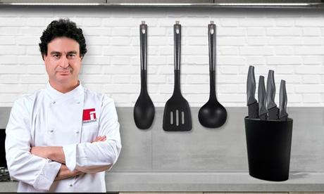 Set de 4 cuchillos, tacoma y juego de 3 utensilios de cocina de la marca San Ignacio