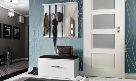 Set di mobili da ingresso Onyks composto da mobile con 3 appendini, cassettone e specchio disponibili in 2 colori