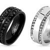 Men's Double Eternity Cubic Zirconia Rings in Stainless Steel