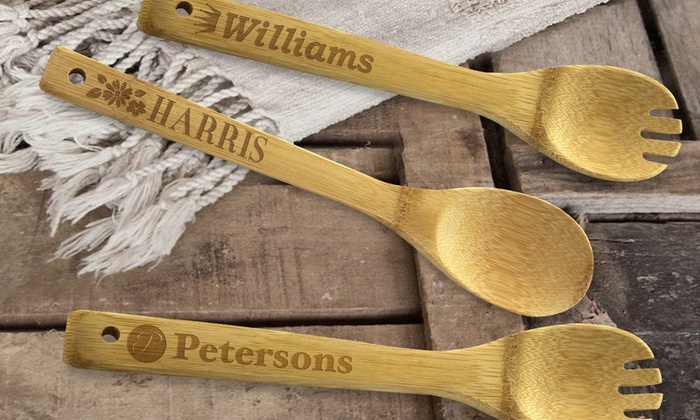 Monogram Online: Personalized Bamboo Sporks and Spoons from Monogram Online (Up to 75% Off). Two Options Available.