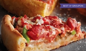 Pizzeria Due : Deep-Dish Pizza with Two or Four Glasses of Wine or Beer at Pizzeria Due (Up to 40% Off)