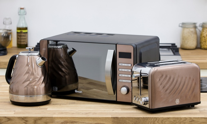 Swan copper 20l microwave 1 6l kettle 2 slice toaster for Kitchen set kettle toaster microwave