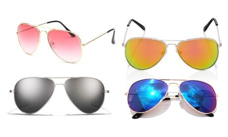 1 o 2 gafas de sol unisex estilo aviador con montura plateada, disponibles con lentes en 4 colores