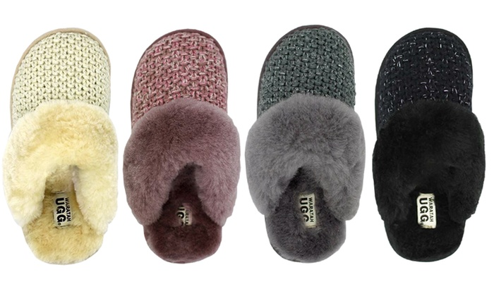 b8c37f8b6cb Up To 71% Off Waratah UGG Sheepskin Knit Scuffs | Groupon