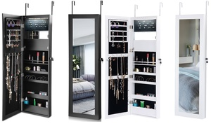 Lockable Wall-Mounted Jewelry Mirror Organizer Cabinet with LED Lights