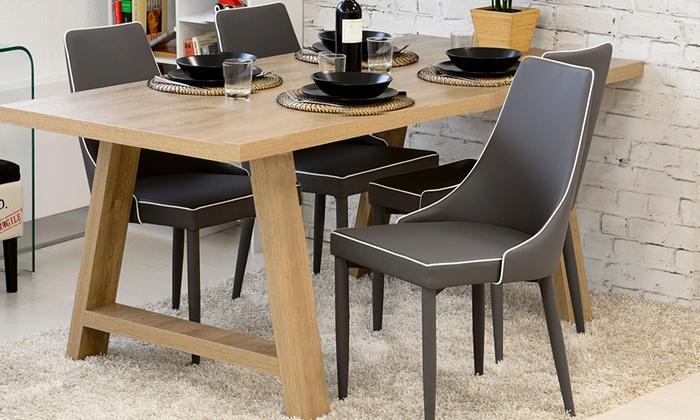 Set di 4 sedie da soggiorno groupon goods for Sedie in similpelle