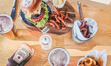 Burger and Beer, Glass of Wine or Soft Drink for Two or Four at Salty's Parkgate